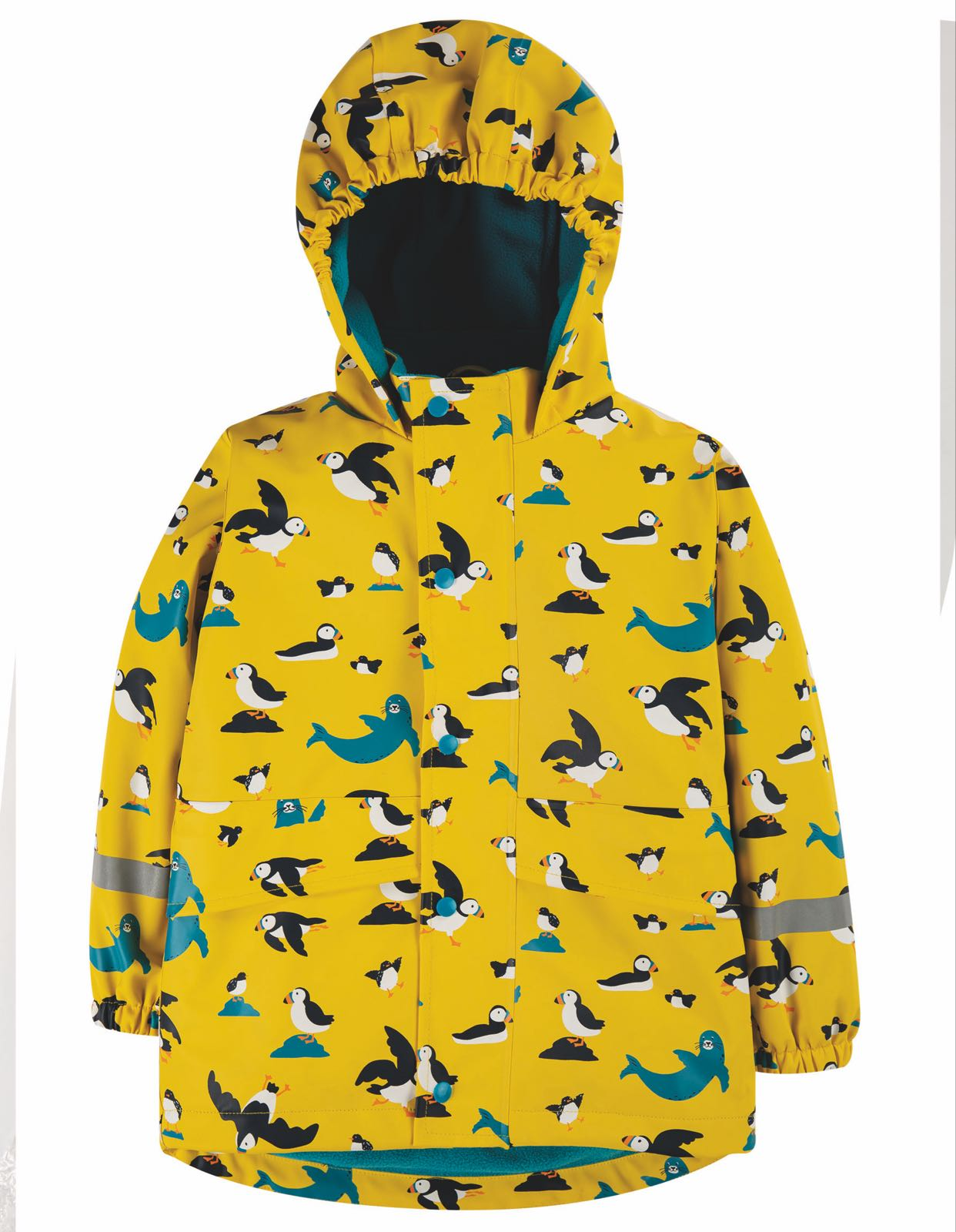 Frugi Puddle Buster Coat, Sunflower Puffling Away
