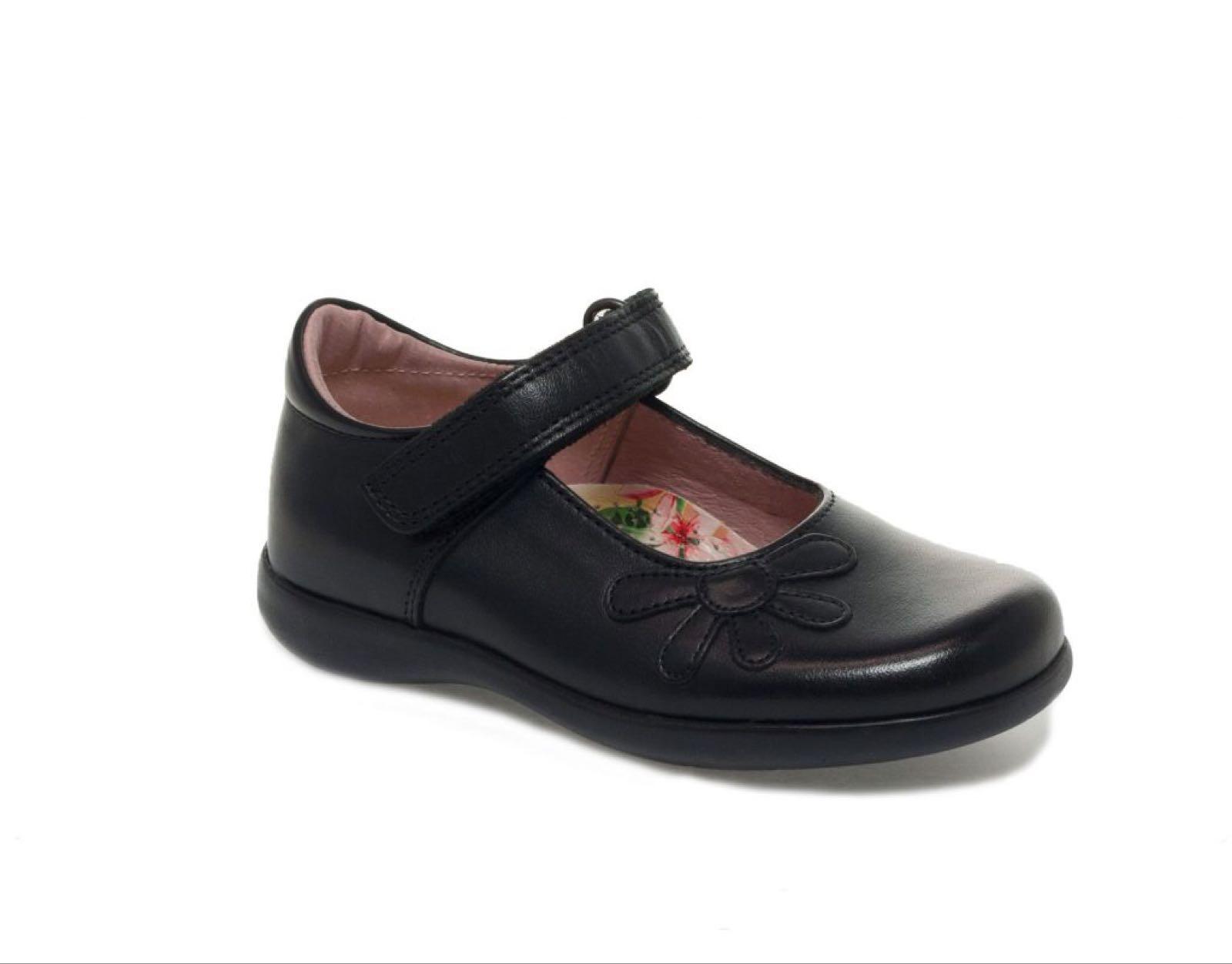 School Shoes Girls Petasil Bonnie Black Leather Width D