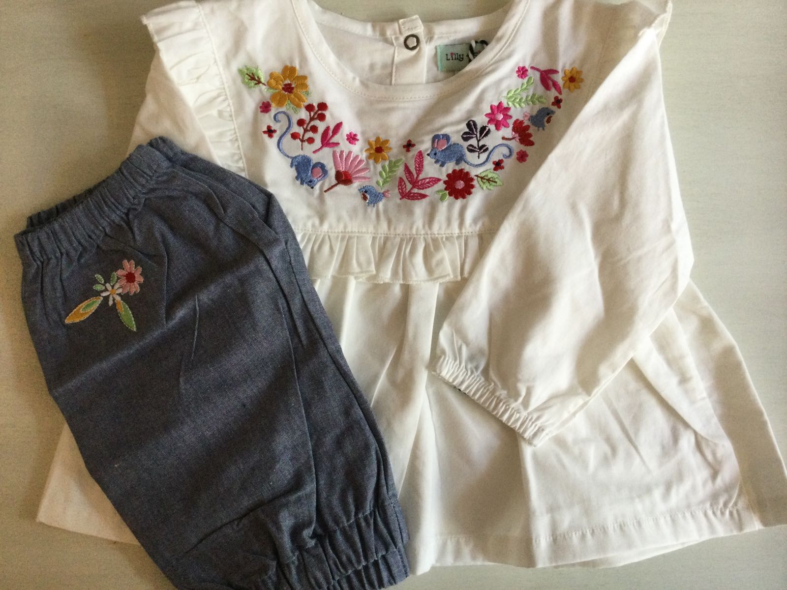 Lilly + Sid - Woodland Embroidery Bloomer set
