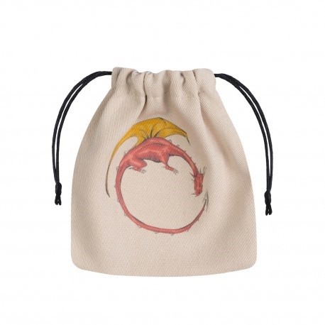 Dice Bag Red Dragon on beige bag