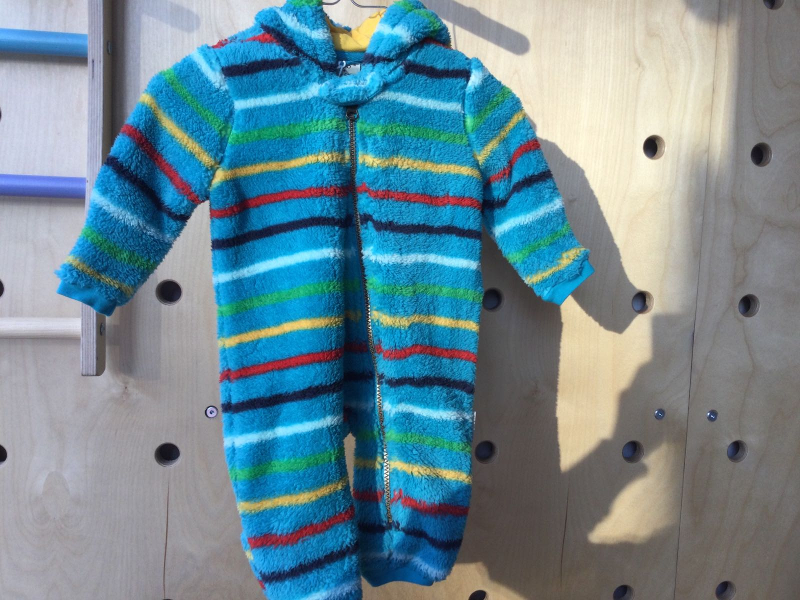 Frugi - Ted fleece snuggle Suit - Tobemart Rainbow Stripe