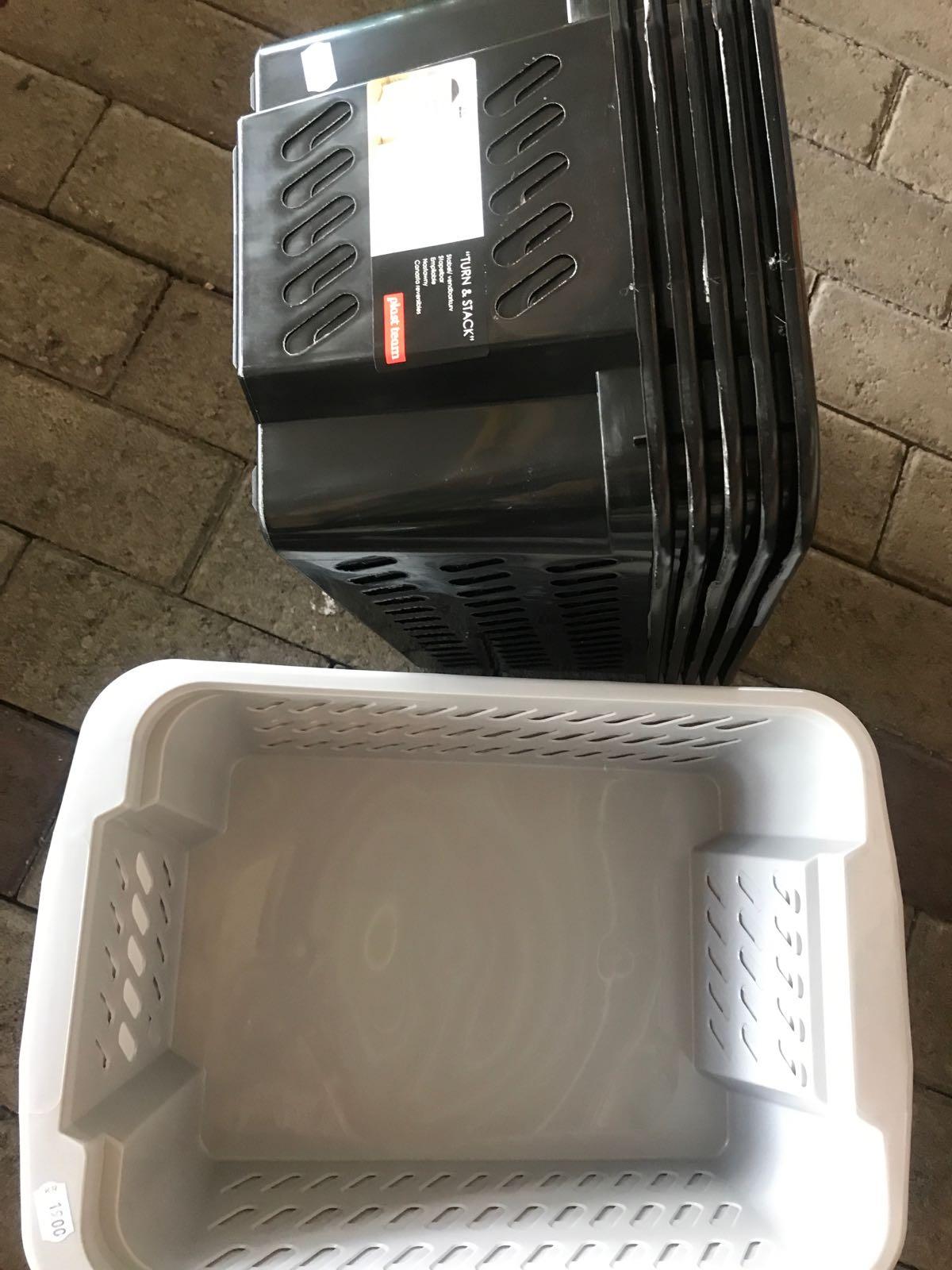 Förvaringskorg stapelbar vit,grå,svart