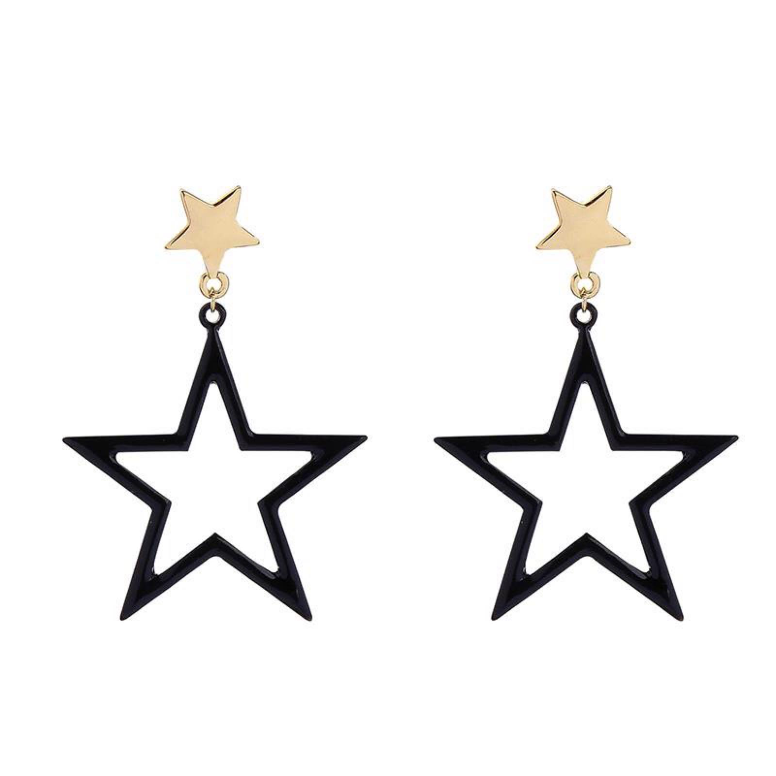 Last true angel black and gold star earrings