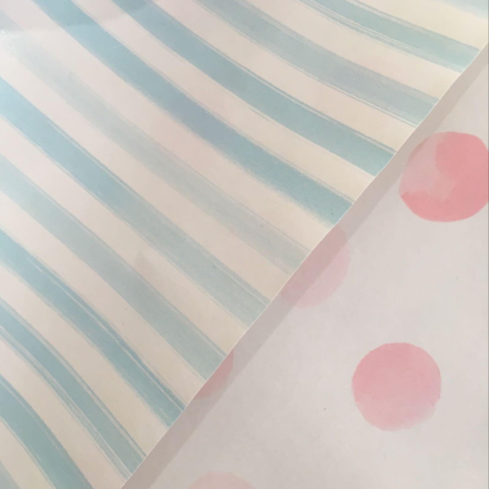 Colletto Wrap (pink spots/blue stripes)