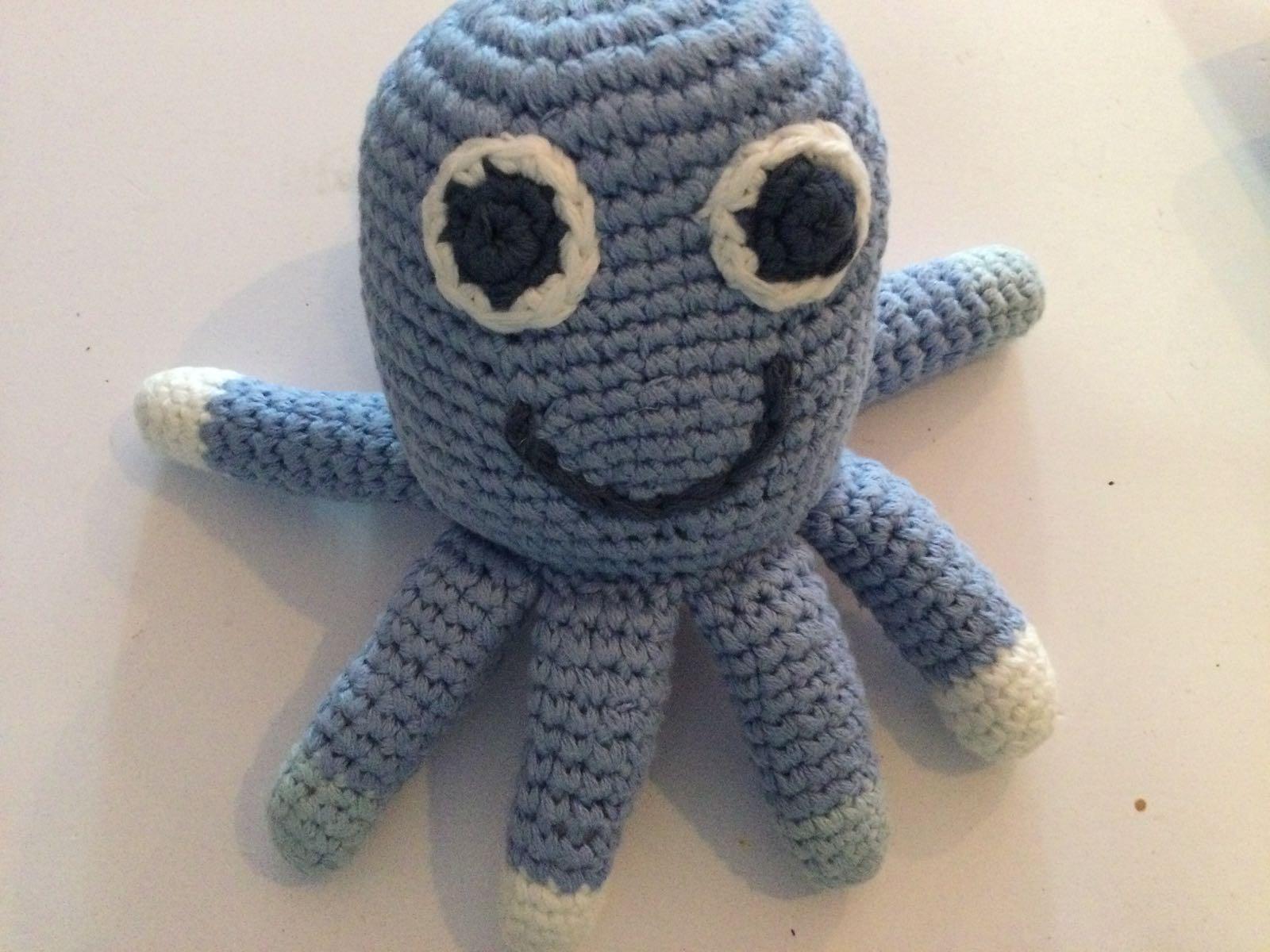 Pebble - Crochet Octopus Rattle - Flower Blue