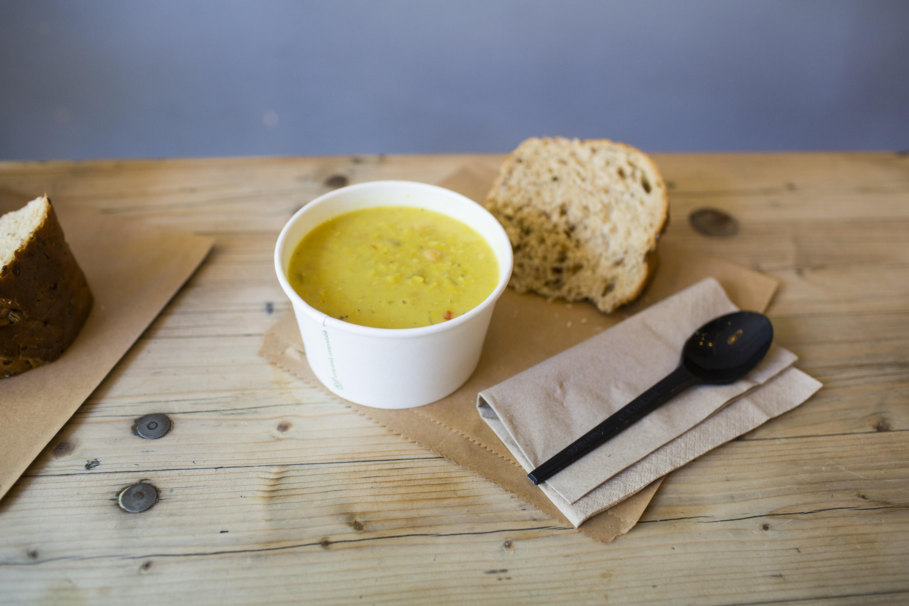 Soup and sausage roll pre order