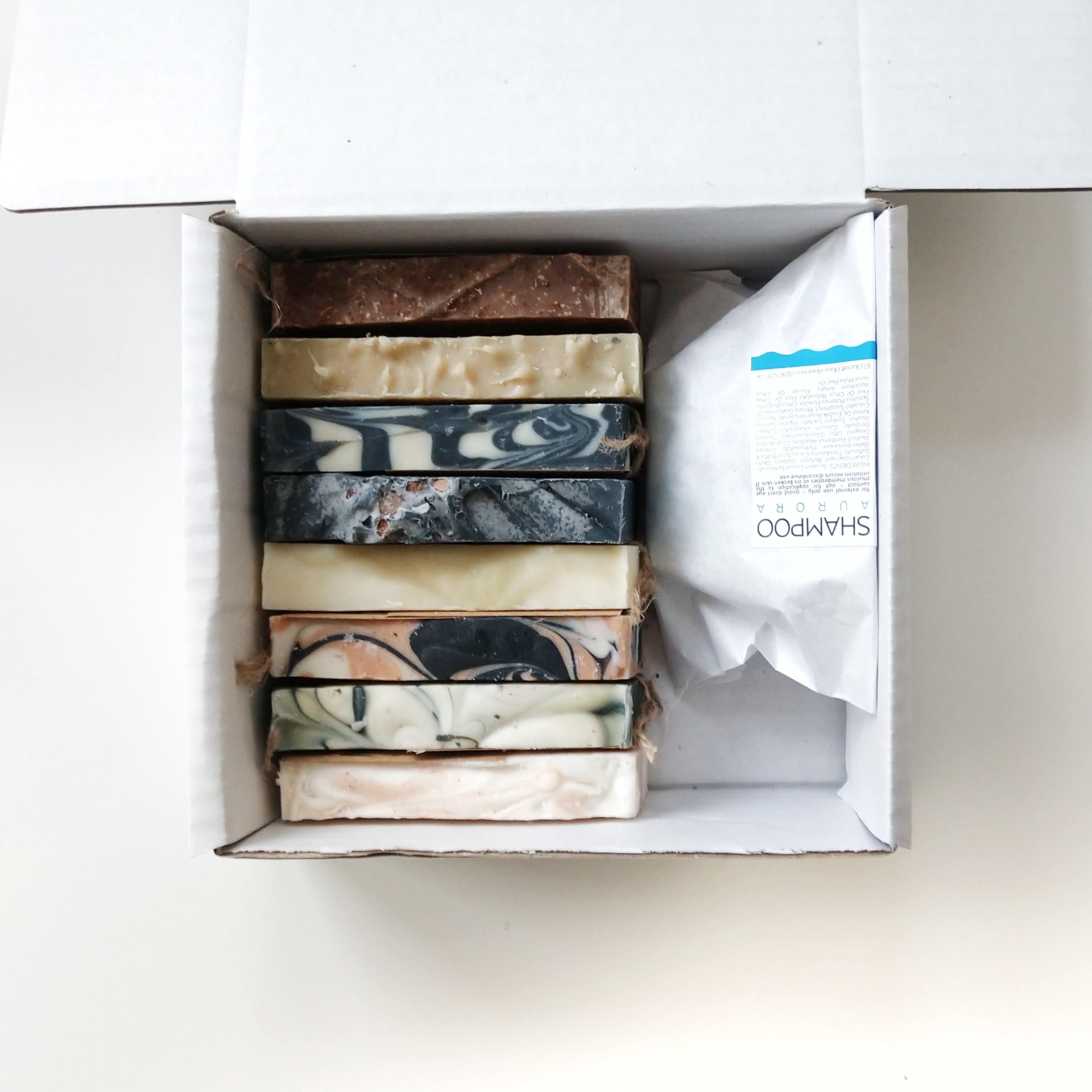 All 8 soaps + Aurora Shampoo