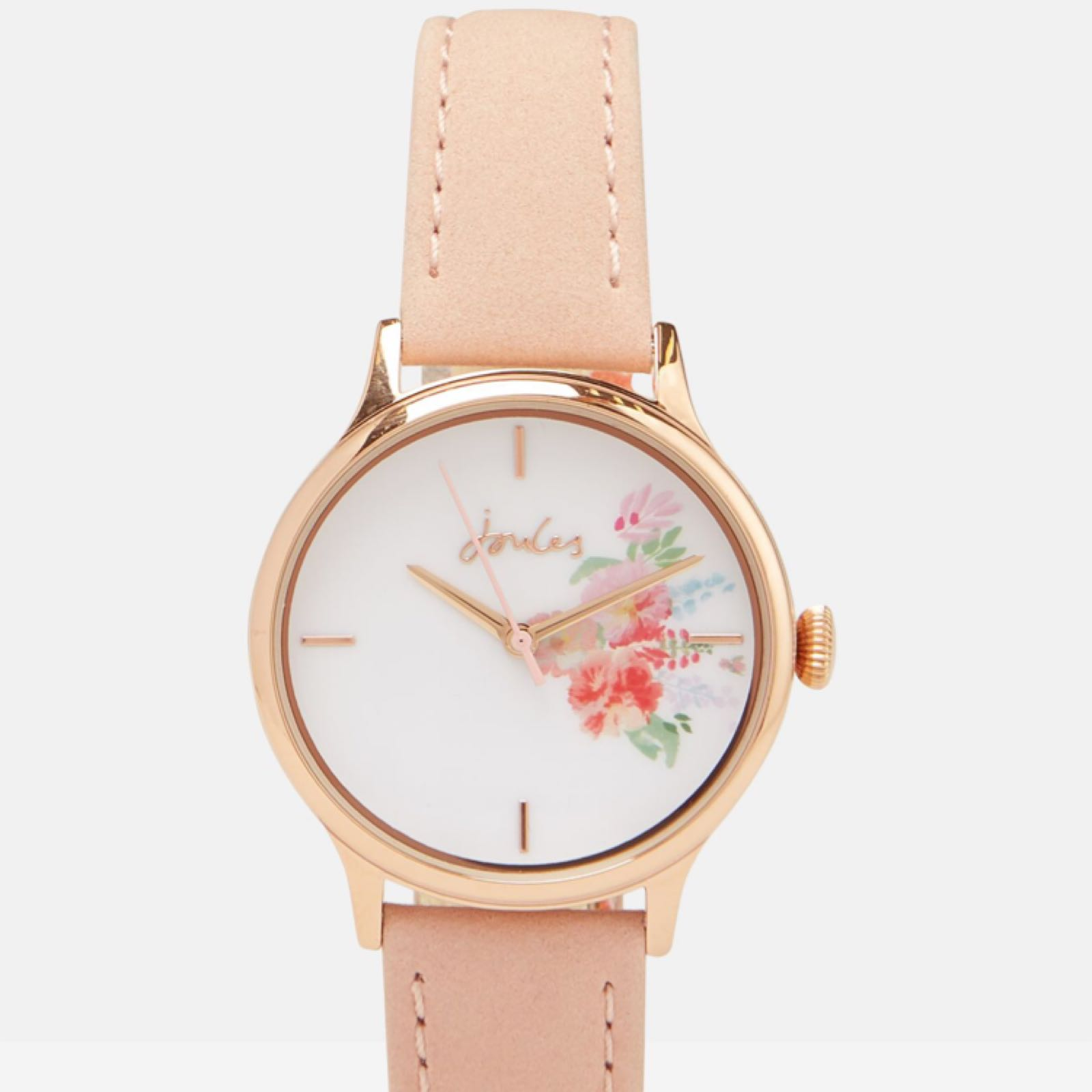 Joules nude strap rose gold case watch