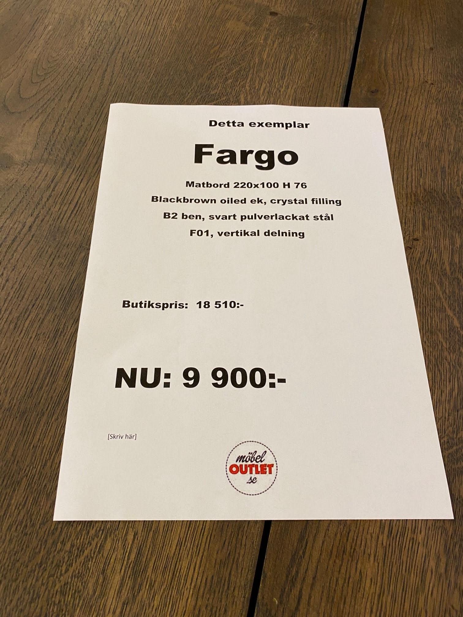 Fargo Matbord 220x100cm