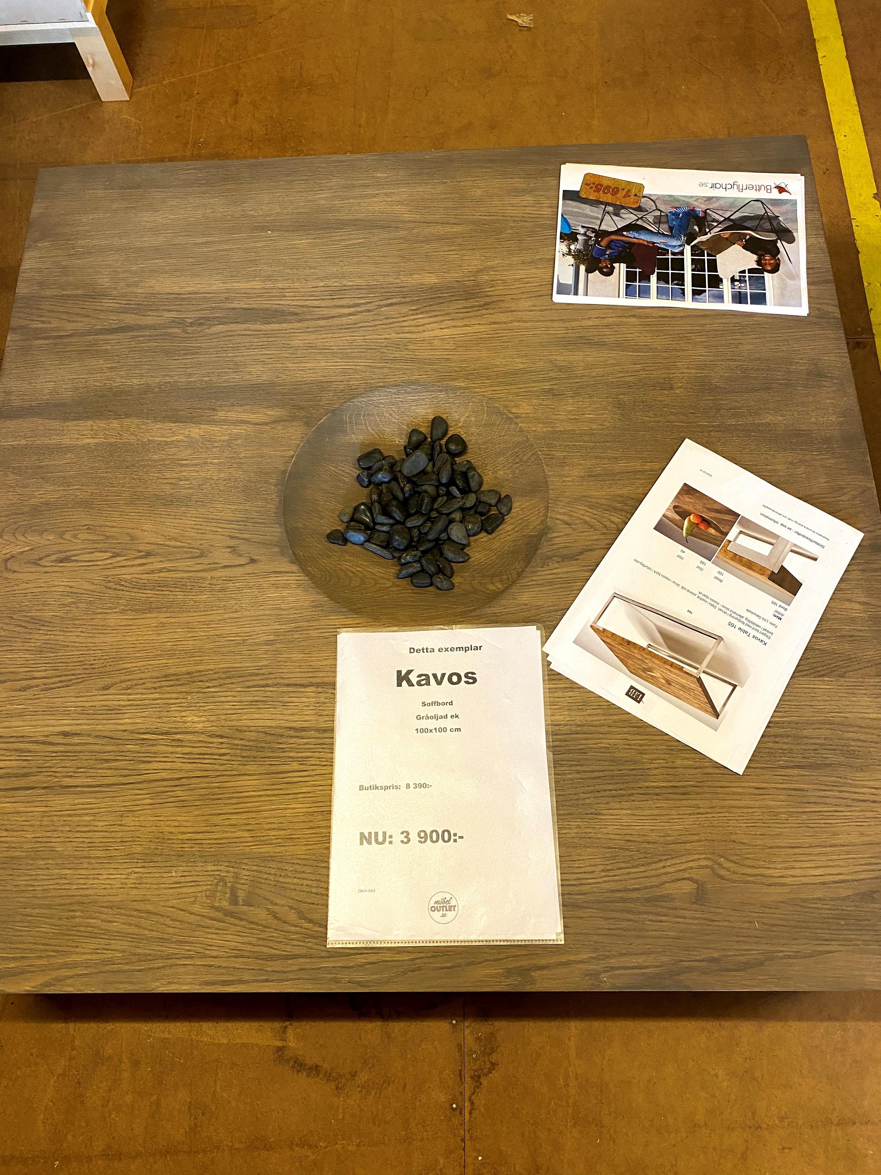 Kavos soffbord gråoljad ek 100x100