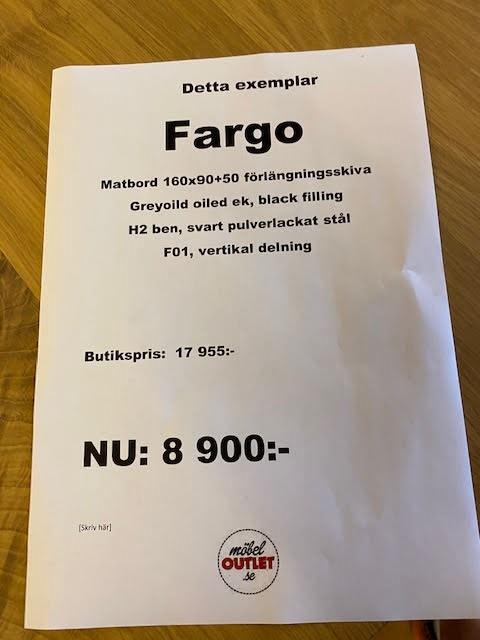 Fargo Matbord 160x90x76 + 50