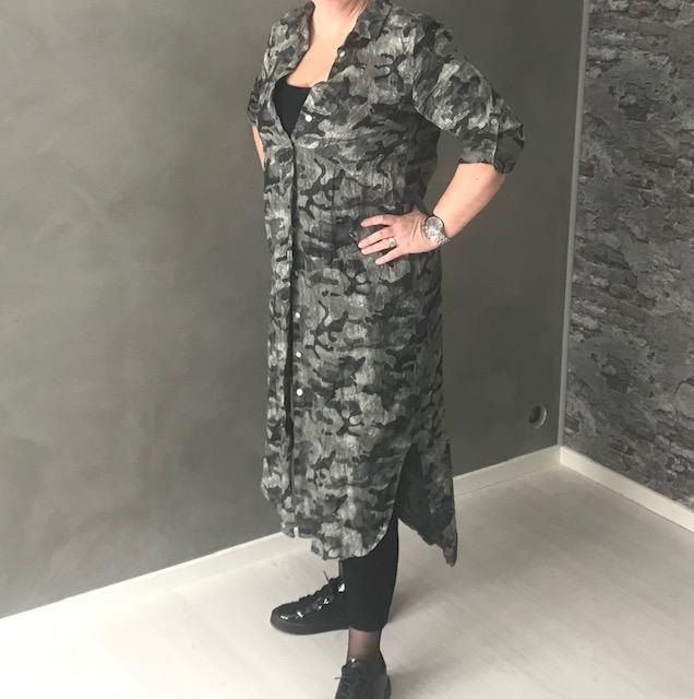 Linneskjorta/klänning camo grön/grå REA