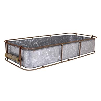 Bricka zink/rost med trähandtag (liten)