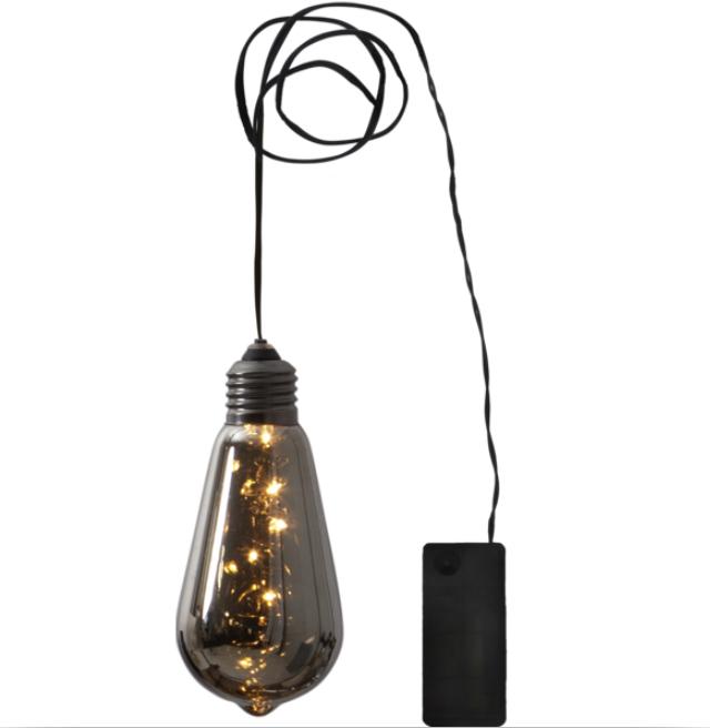 Klotlampa rökgrå batteridriven