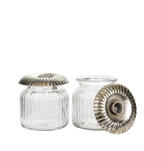 Glasburk med ljushållare liten