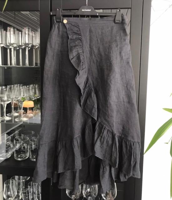 Omlottkjol linne grafitgrå REA