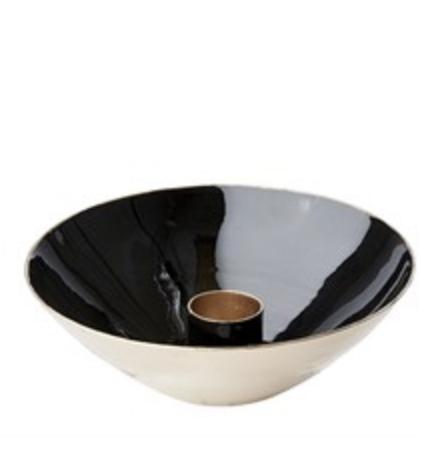 Skål med ljushållare svart liten