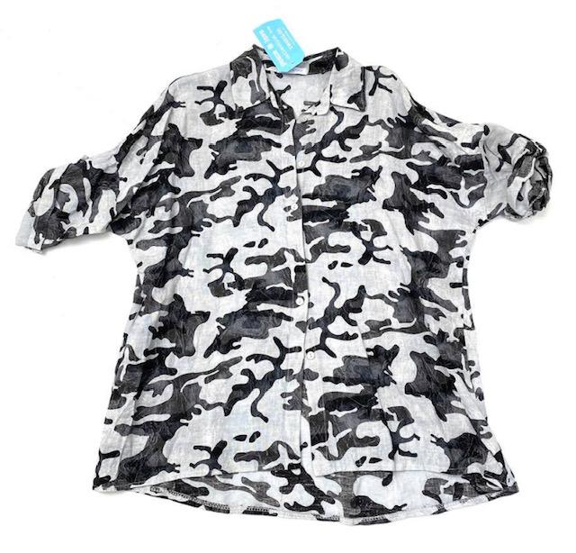 Linneskjorta camo grå/vit/svart REA