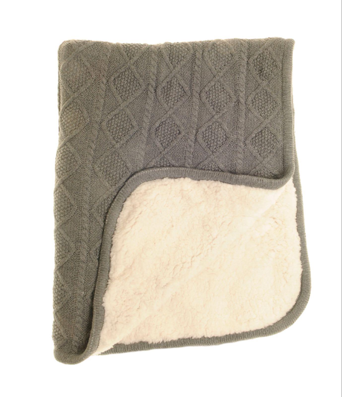 Ziggle Dark Grey Sherpa  Fleece Blanket
