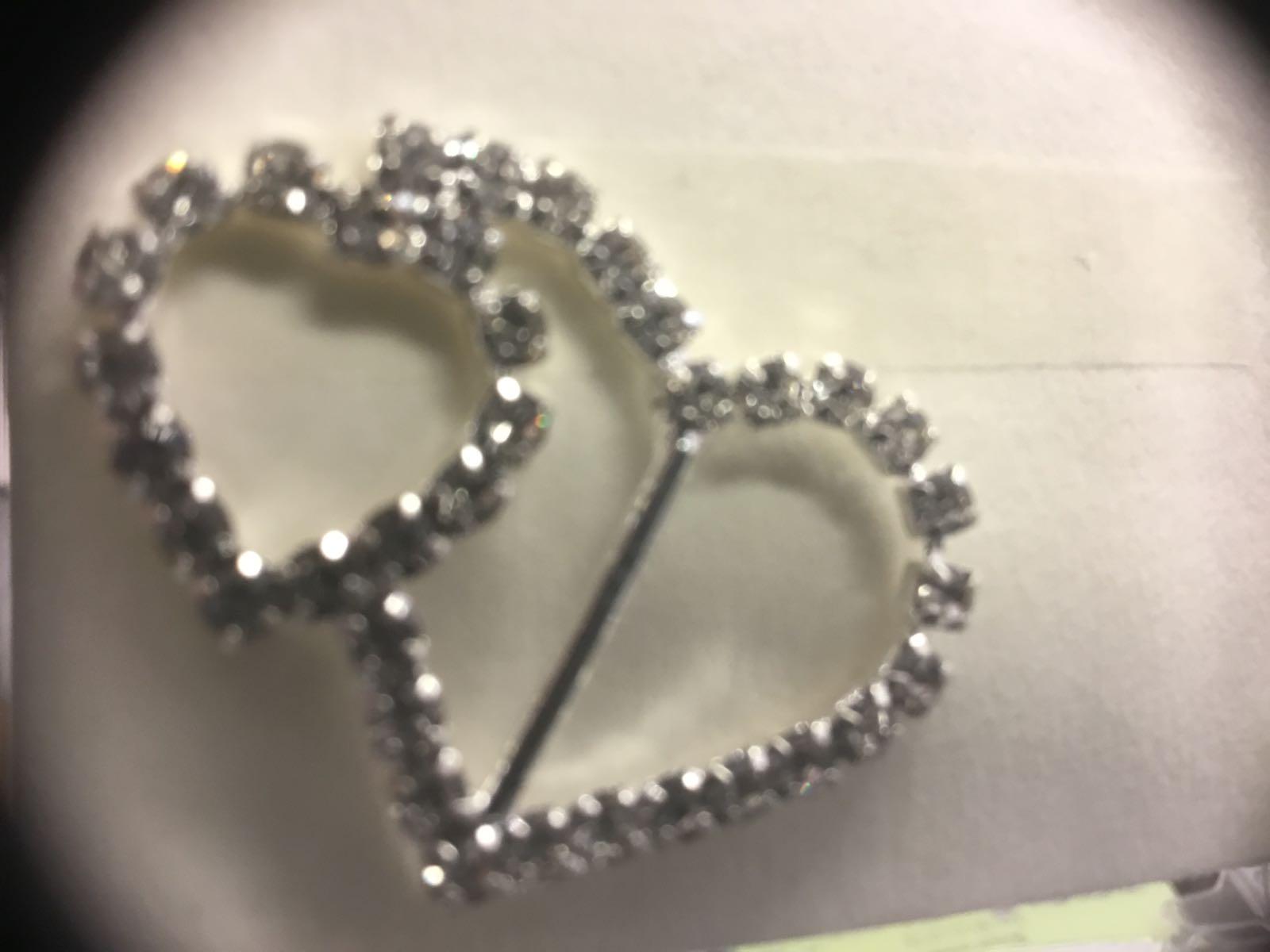 #charms sølvfarget dobbelt hjerte med rhinestone