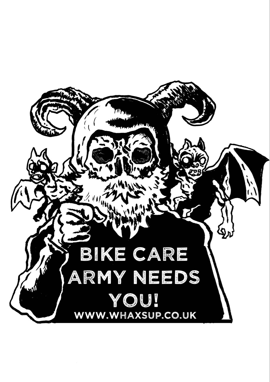 r. Whaxs Up Bike Care Army Poster A1