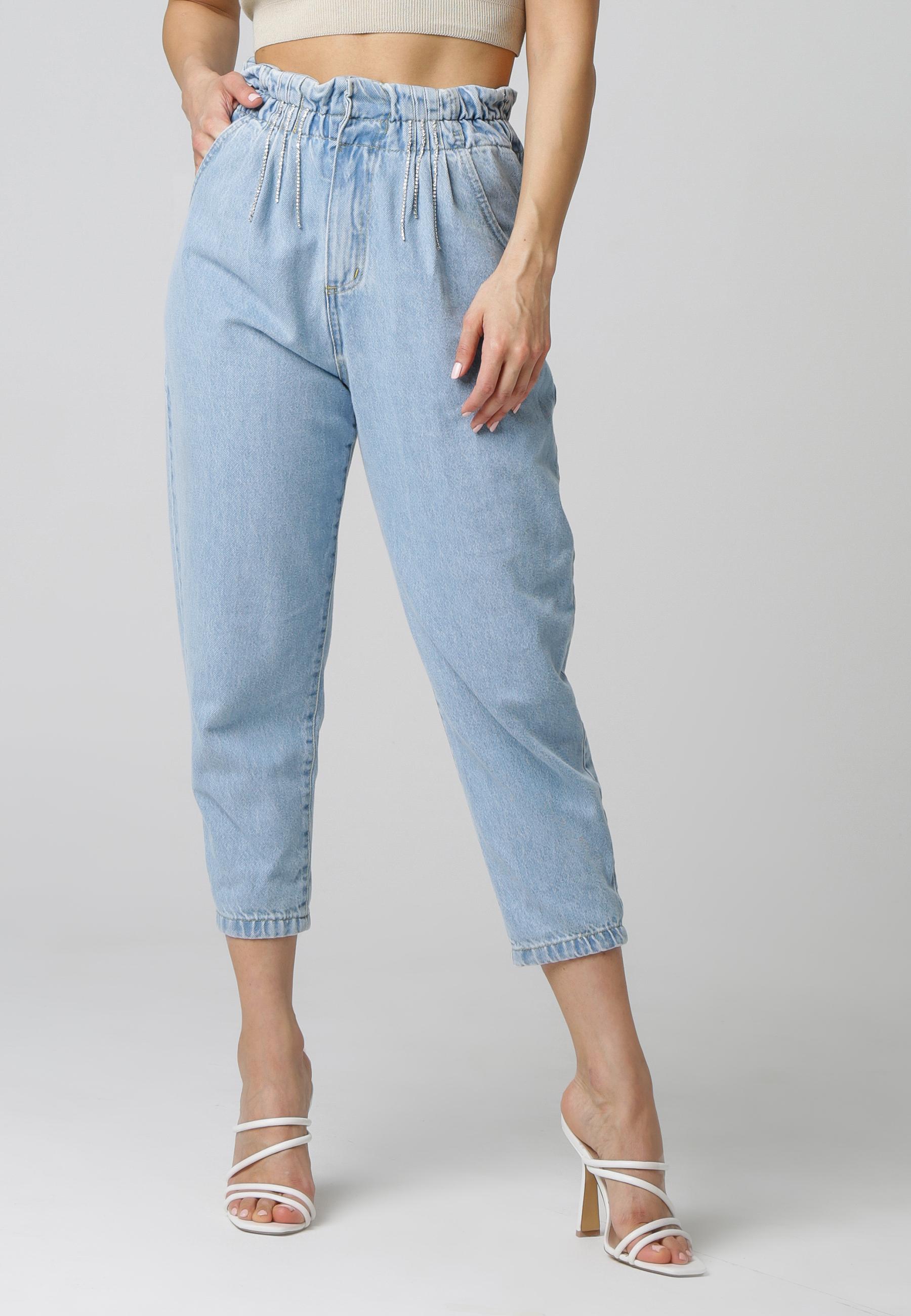MiaZAYA Paperbag Jeans Strass