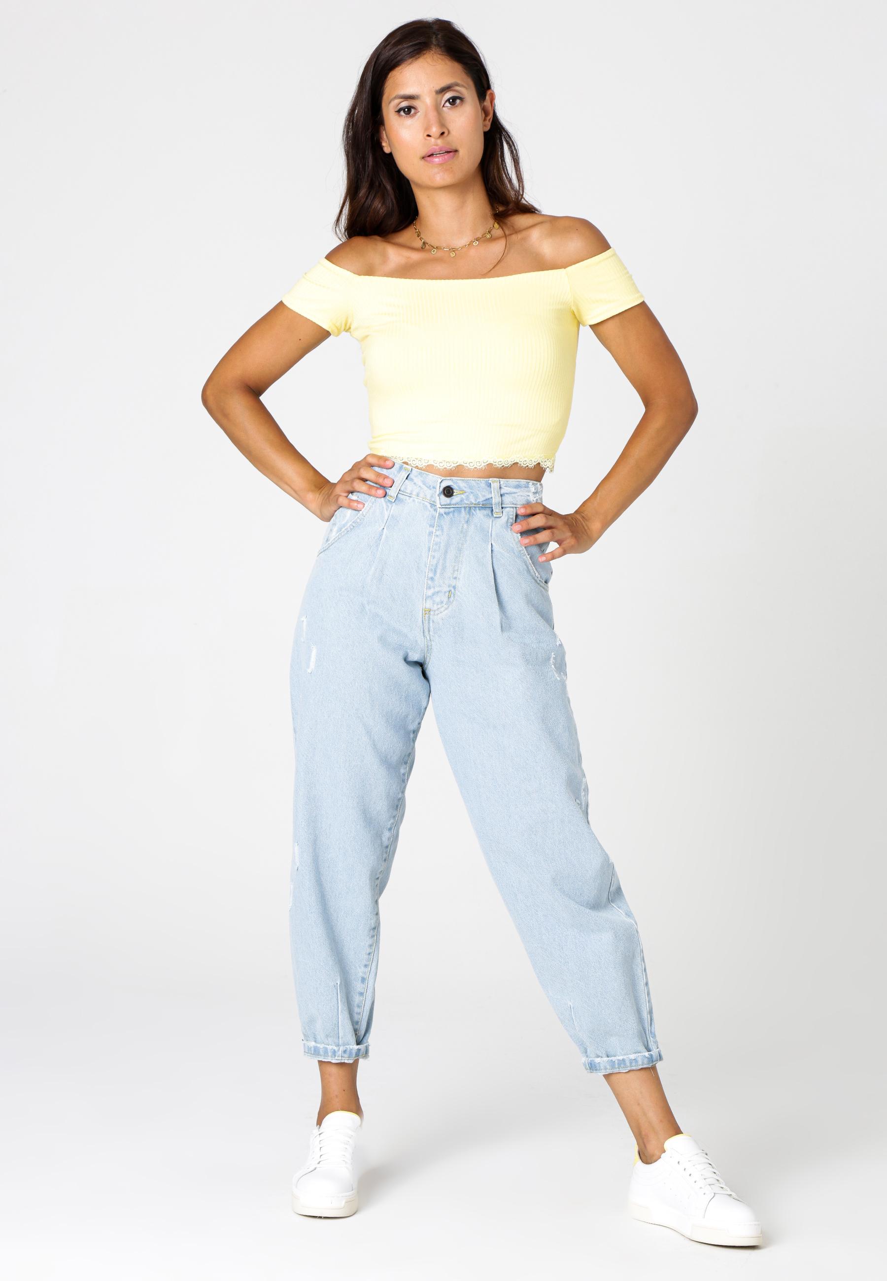 MiaZAYA Mom Jeans Blue