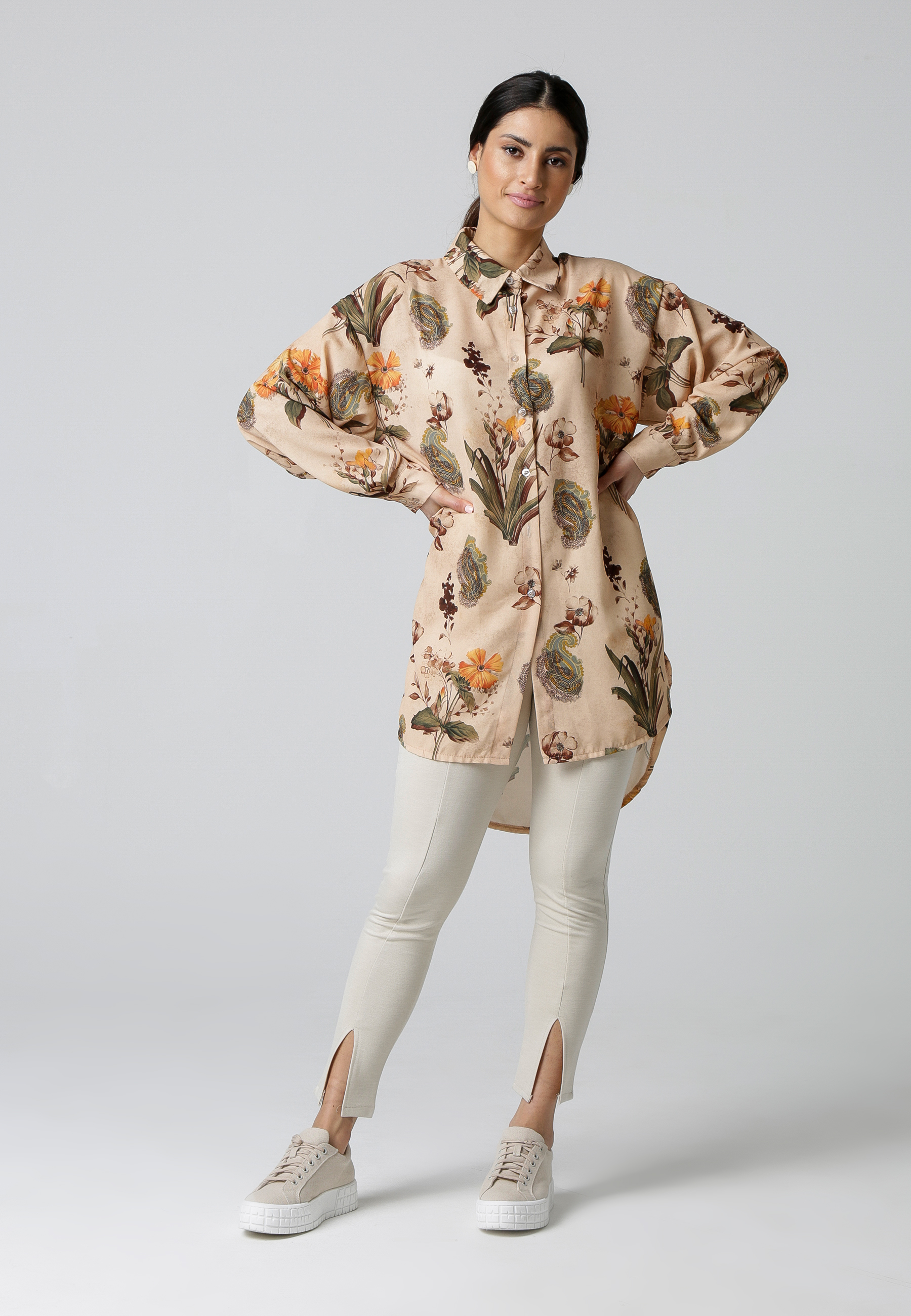 MiaZAYA Oversize Bluse Blumen