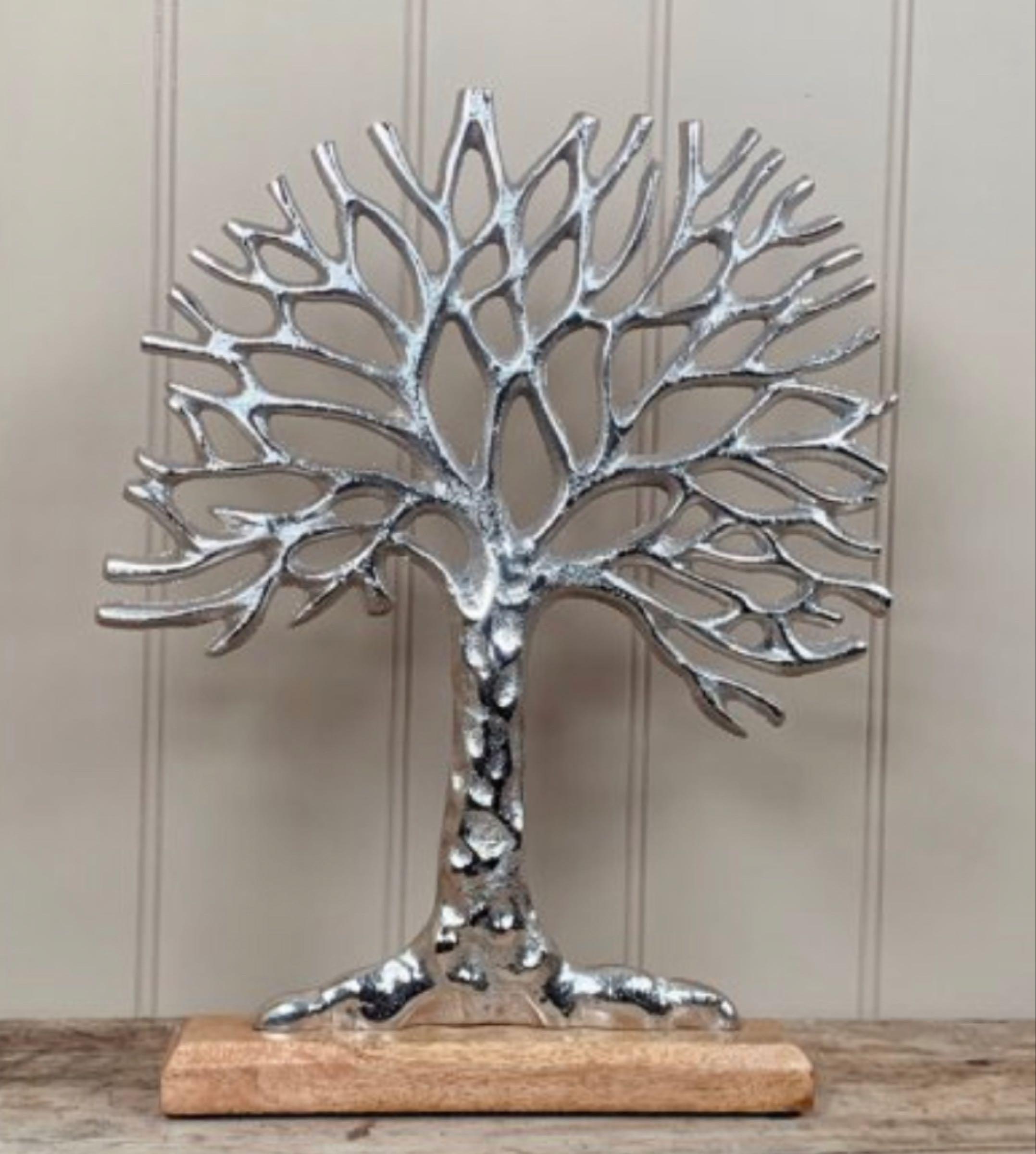 Aluminium tree of life on wooden base  36cm