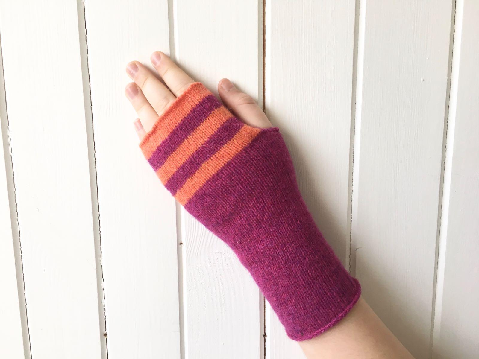 gloves - orange & purple