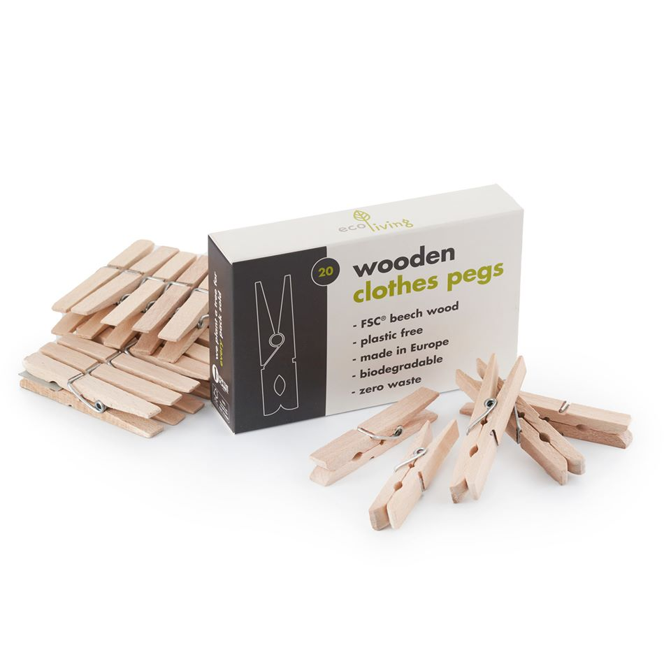 Clothes Pegs: Wooden Pack of 20