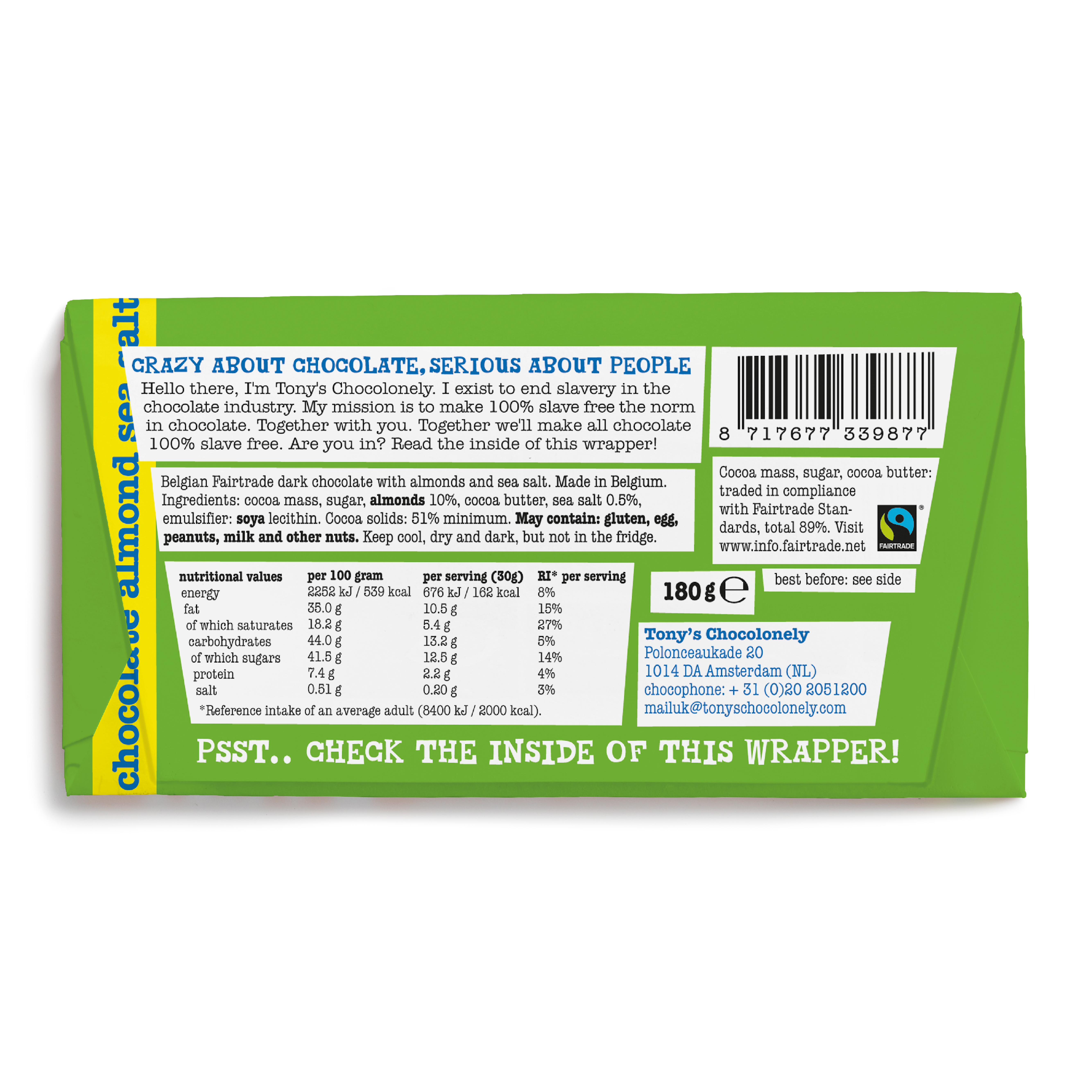 Dark Almond Sea Salt 51%   Tony's Chocolonely