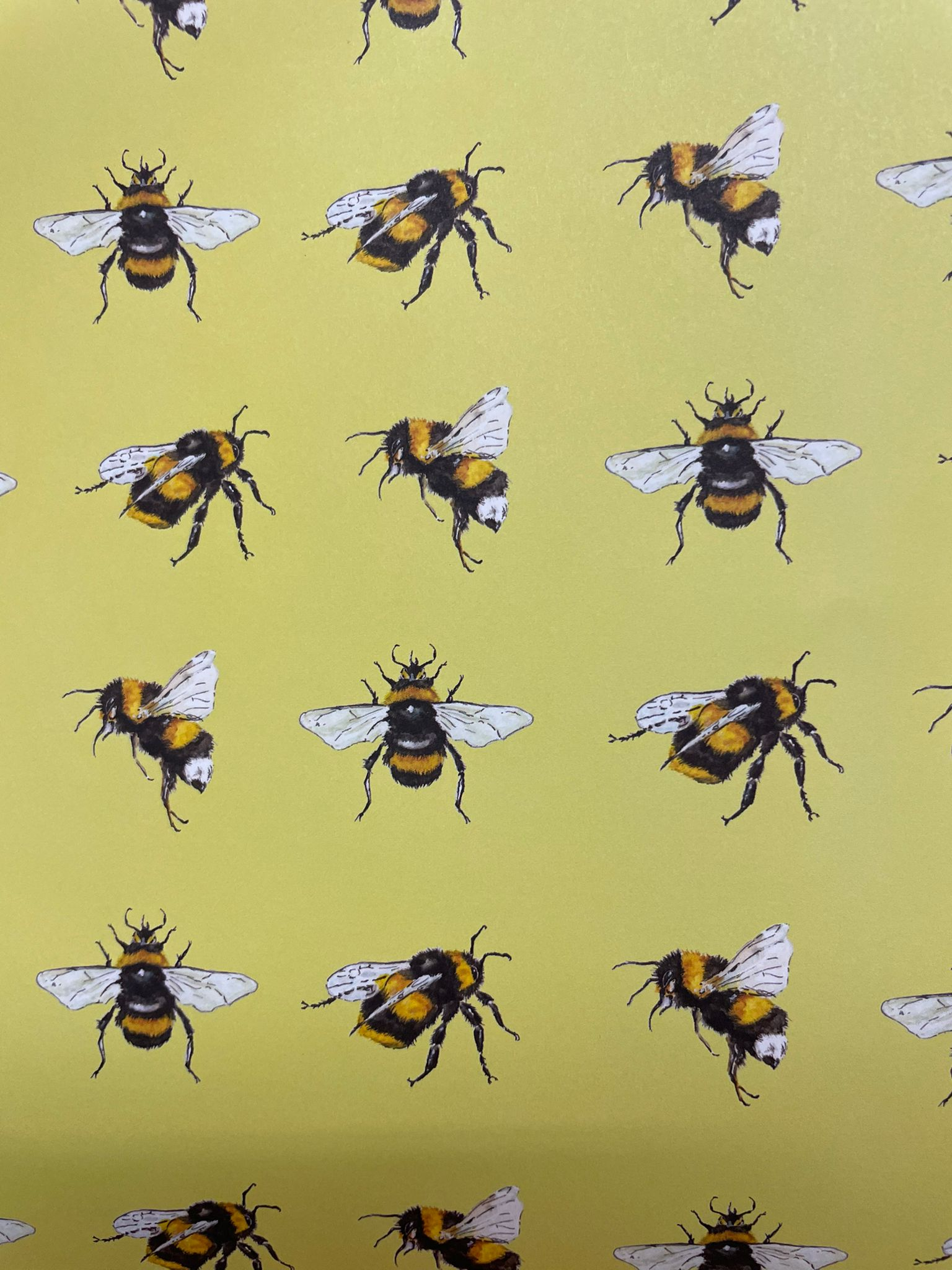 Yellow Bees Wrapping Paper   Re-wrapped
