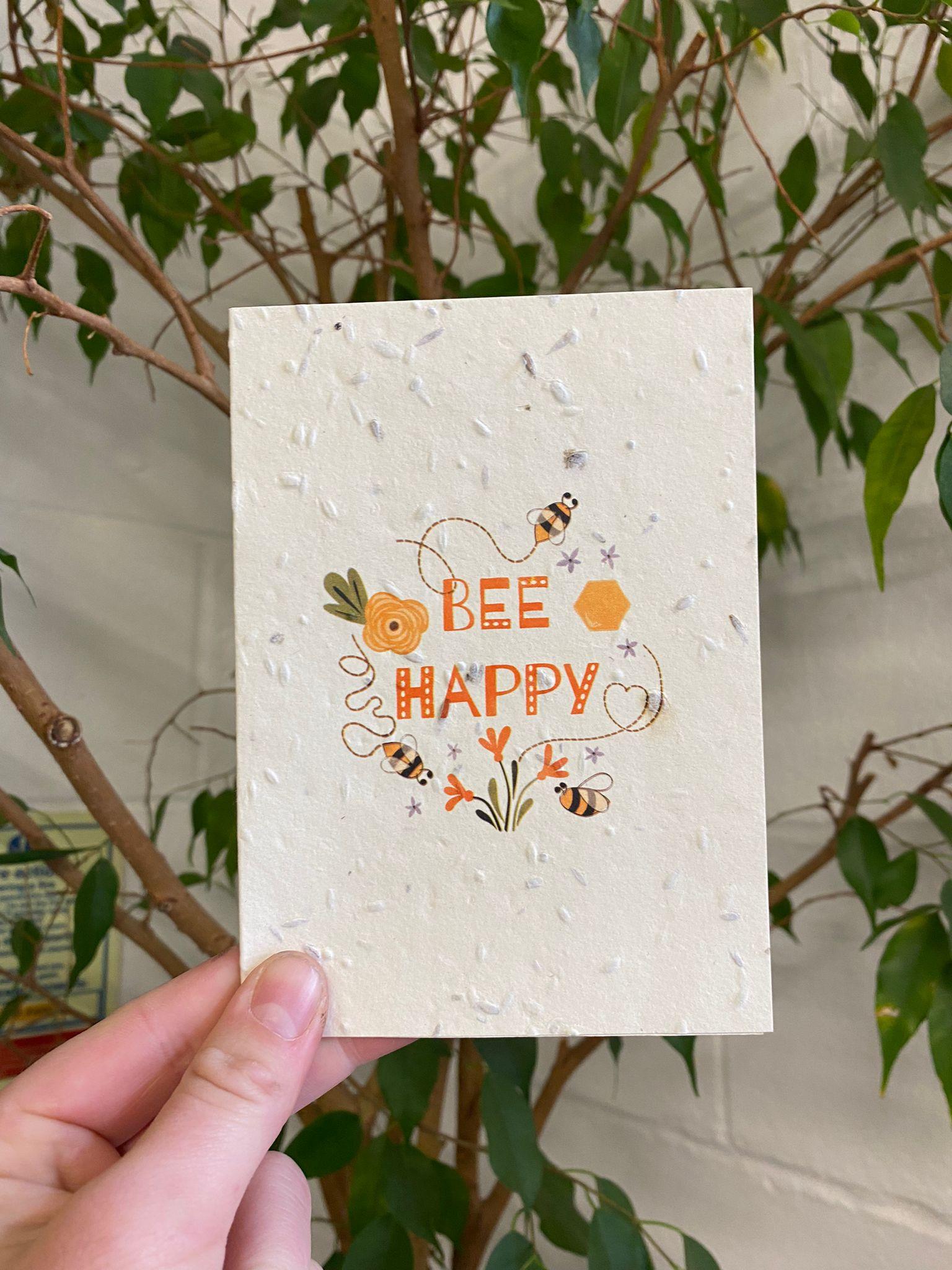 Bee Happy   Plantable Cards