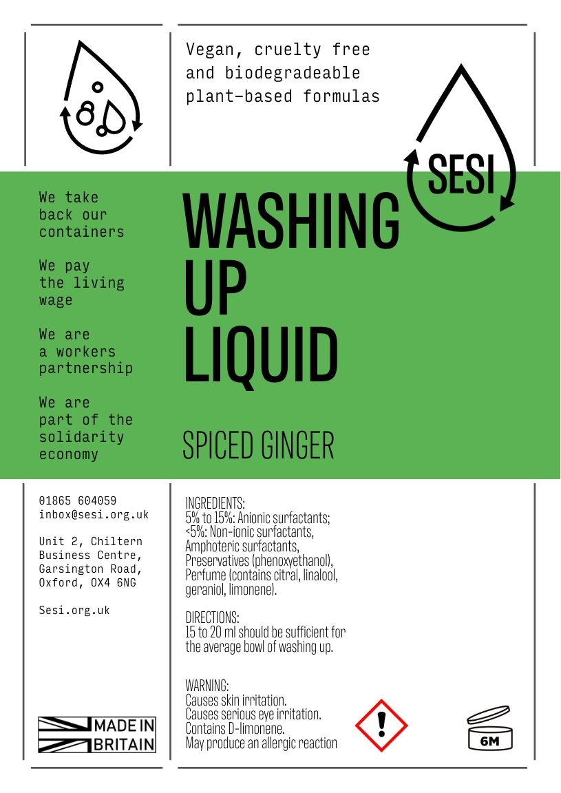 Washing Up Liquid: Spiced Ginger | SESI Refillable