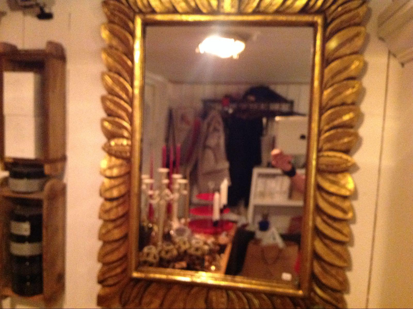 """Spegel guldfärgad löv (second hand, vintage, retro) - OBS! Skickas ej - Se vidare """"Hämtas i butik"""" i huvudmenyn"""