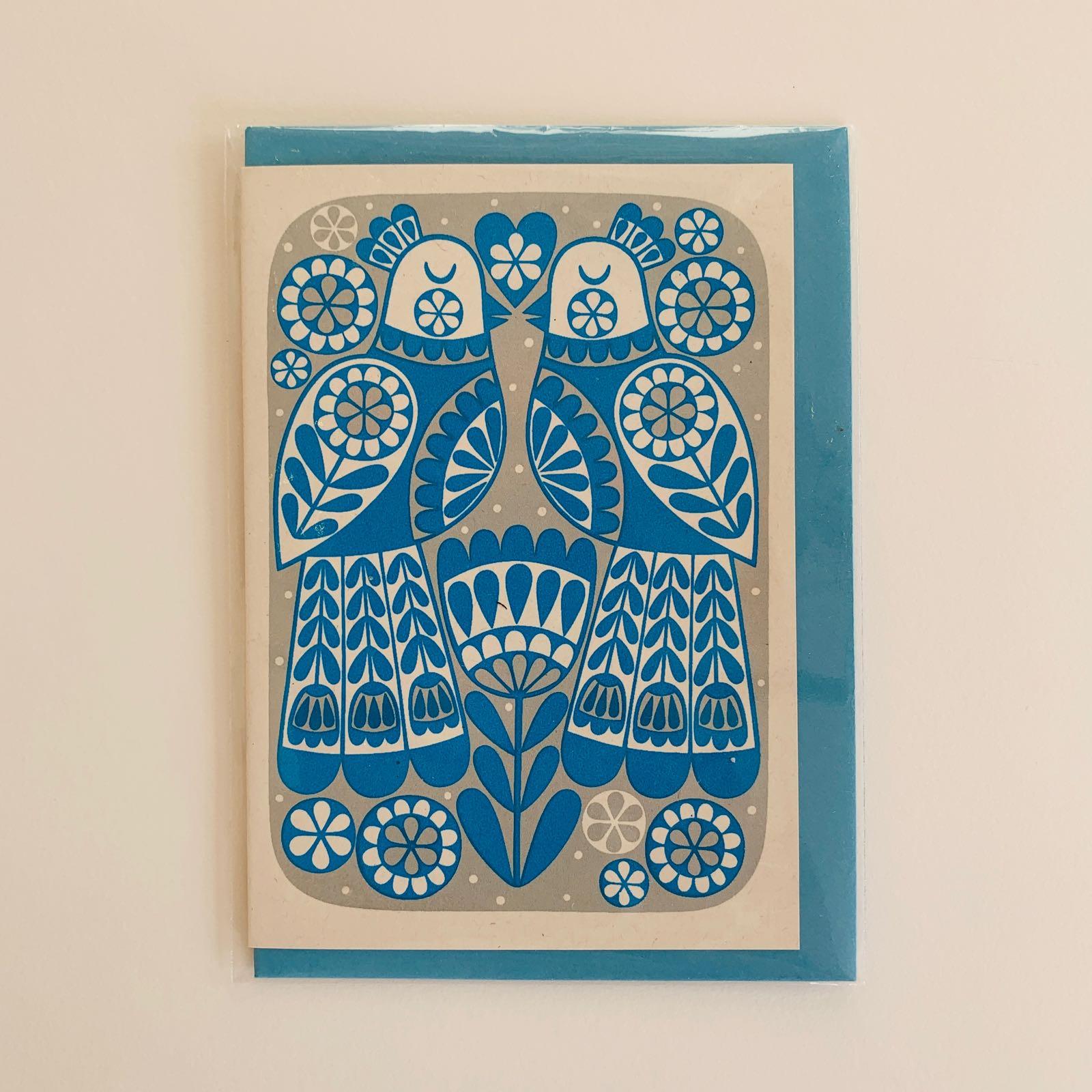 Karoline Rerrie - Lovebirds Screenprinted Greeting Card (Blue)