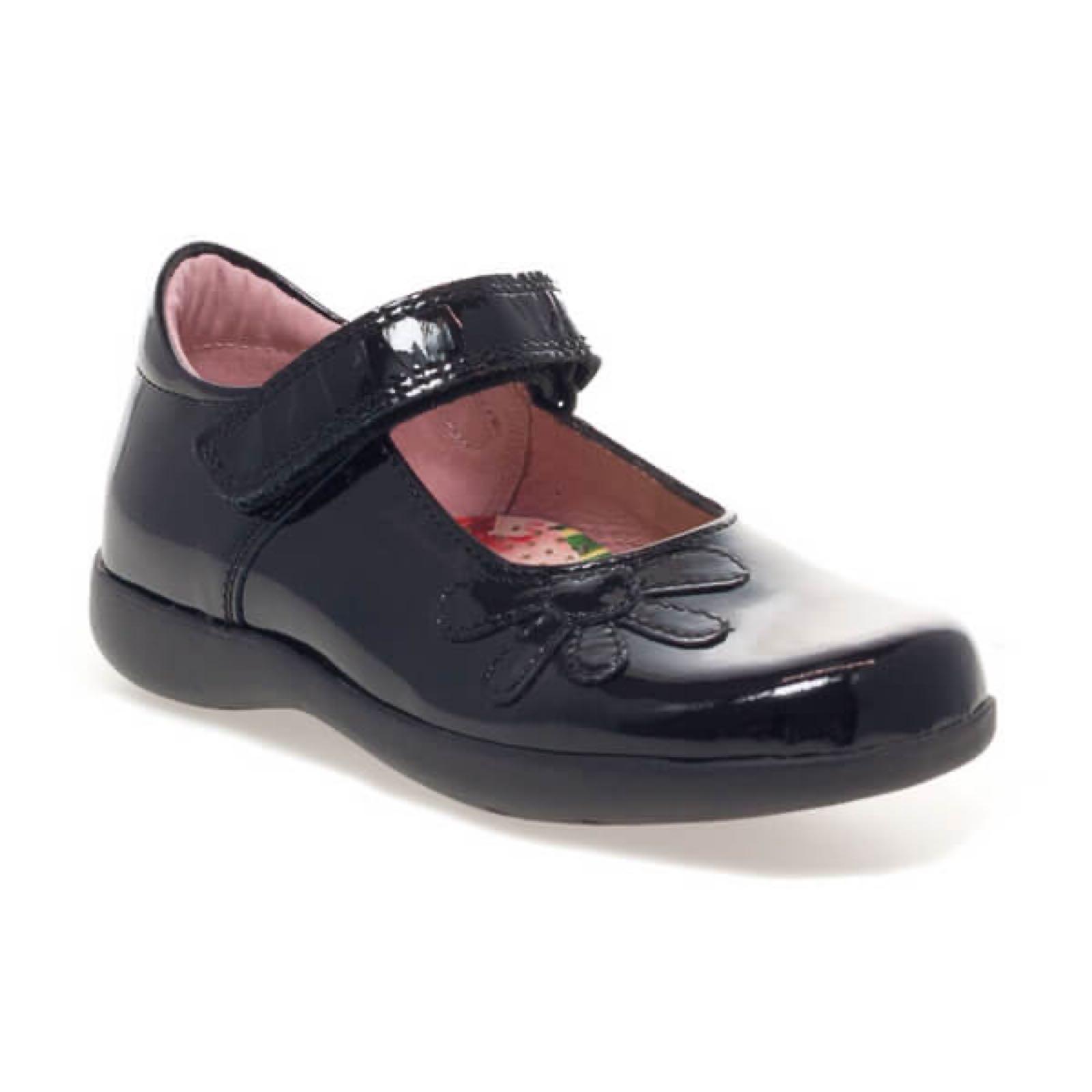 School Shoes PETASIL Bonnie Black Patent Width D