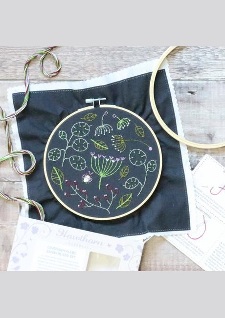 Seedhead Spray - Hoop Embroidery Kit - Black background
