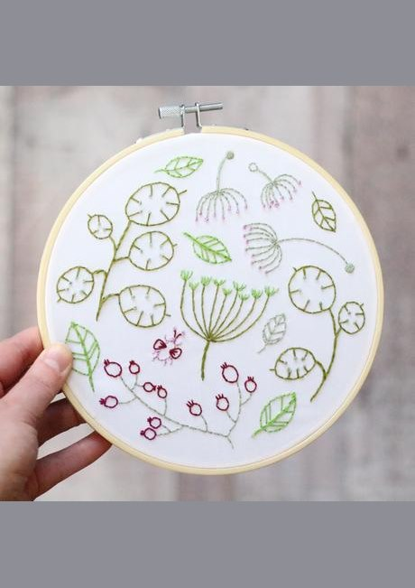 Seedhead Spray - Hoop Embroidery Kit - White Background