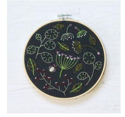 Seedhead Spray - Hoop Embroidery Kit - White Background