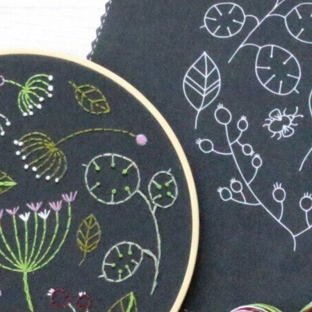 Seedhead Spray - Hoop Embroidery Kit - Black background
