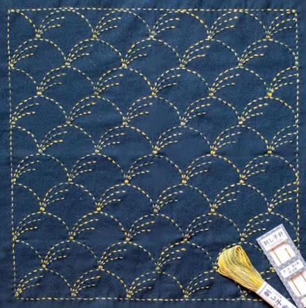 Wind-Blown Grass 'Nowaki' Sashiko Embroidery Kit