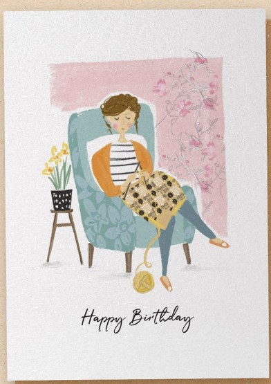 The Knitter - Greetings Card - Happy Birthday