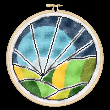 Rolling Fields - Hoop Cross Stitch Kit