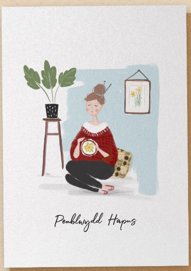 The Stitcher - Greetings Card - Penblwydd Hapus