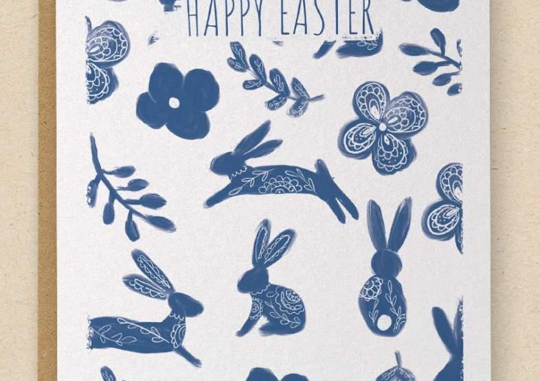 Easter Bunnies - Happy Easter - Greetings Card