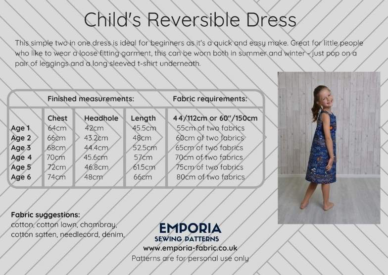 Child's Reversible Dress Pattern - by Emporia