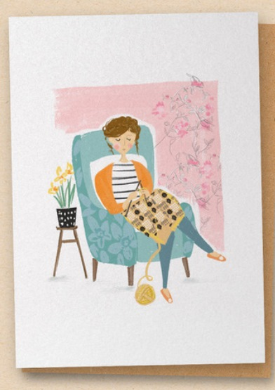 The Knitter - Greetings Card - Blank