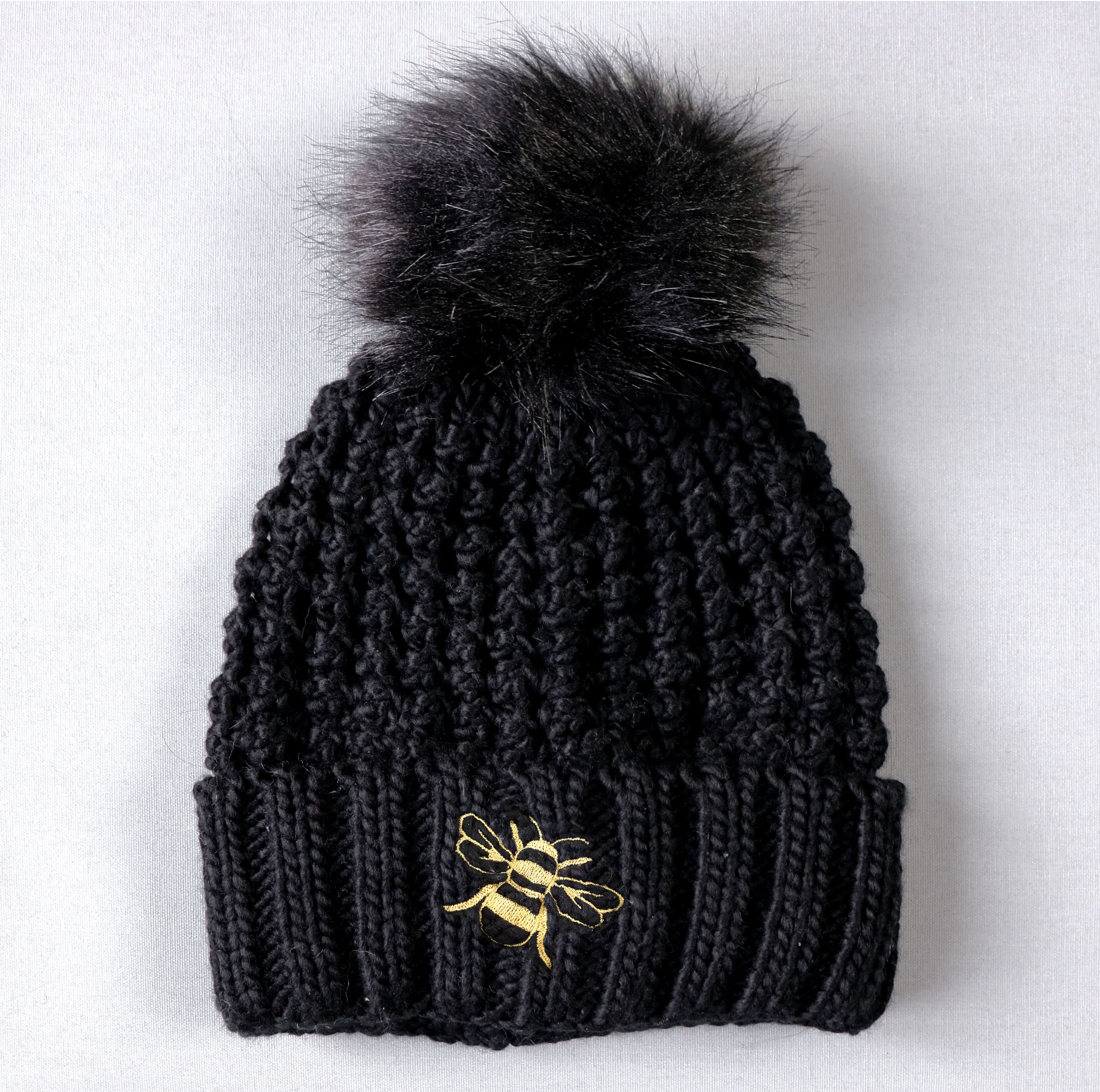 Bee Black Pom Beanie